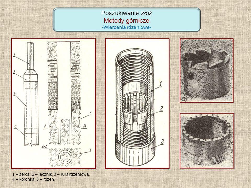 Poszukiwanie złóż Metody górnicze -Wiercenia rdzeniowe- 1 – żerdź, 2 – łącznik, 3 – rura rdzeniowa, 4 – koronka, 5 – rdzeń.