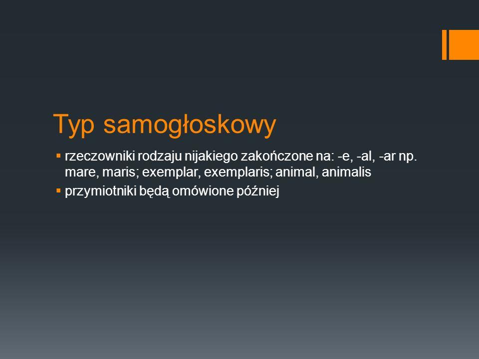 Typ samogłoskowy  rzeczowniki rodzaju nijakiego zakończone na: -e, -al, -ar np. mare, maris; exemplar, exemplaris; animal, animalis  przymiotniki bę