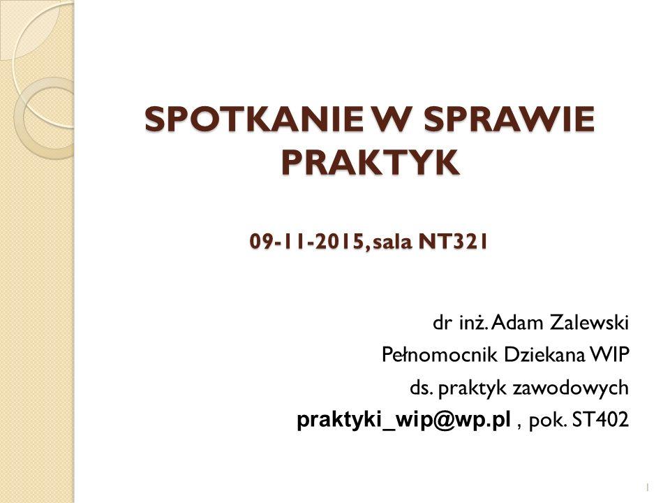 SPOTKANIE W SPRAWIE PRAKTYK 09-11-2015, sala NT321 dr inż. Adam Zalewski Pełnomocnik Dziekana WIP ds. praktyk zawodowych praktyki_wip@wp.pl, pok. ST40