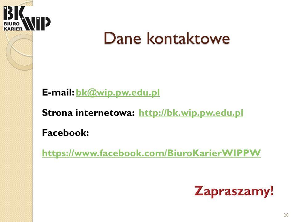 Dane kontaktowe E-mail: bk@wip.pw.edu.plbk@wip.pw.edu.pl Strona internetowa: http://bk.wip.pw.edu.plhttp://bk.wip.pw.edu.pl Facebook: https://www.face