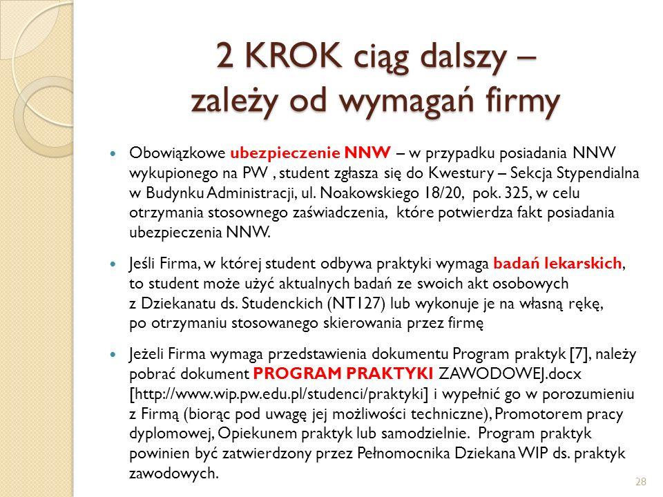 2 KROK ciąg dalszy – zależy od wymagań firmy Obowiązkowe ubezpieczenie NNW – w przypadku posiadania NNW wykupionego na PW, student zgłasza się do Kwes