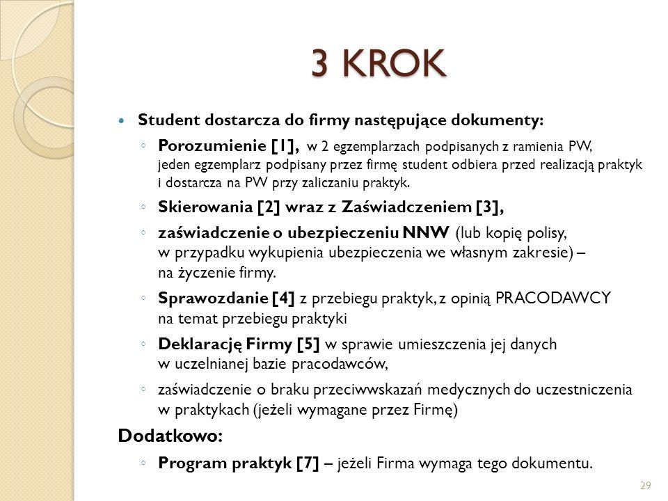 3 KROK Student dostarcza do firmy następujące dokumenty: ◦ Porozumienie [1], w 2 egzemplarzach podpisanych z ramienia PW, jeden egzemplarz podpisany p