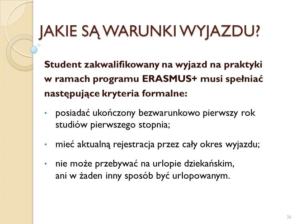 JAKIE SĄ WARUNKI WYJAZDU? Student zakwalifikowany na wyjazd na praktyki w ramach programu ERASMUS+ musi spełniać następujące kryteria formalne: posiad