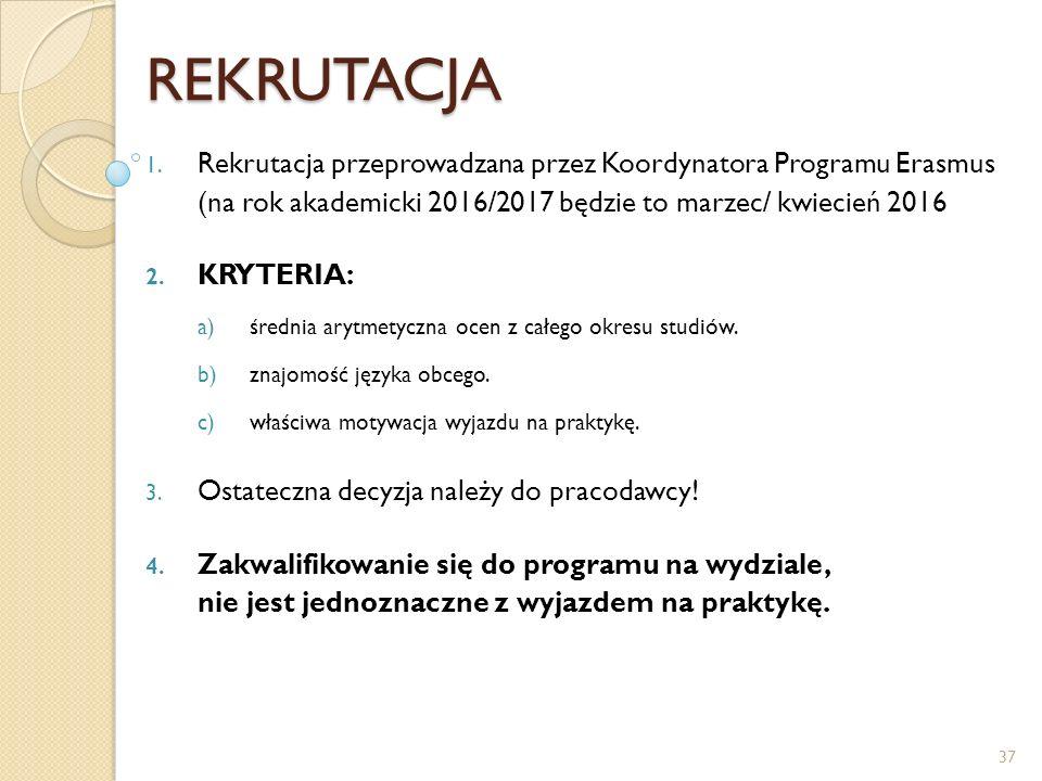 REKRUTACJA 1. Rekrutacja przeprowadzana przez Koordynatora Programu Erasmus (na rok akademicki 2016/2017 będzie to marzec/ kwiecień 2016 2. KRYTERIA: