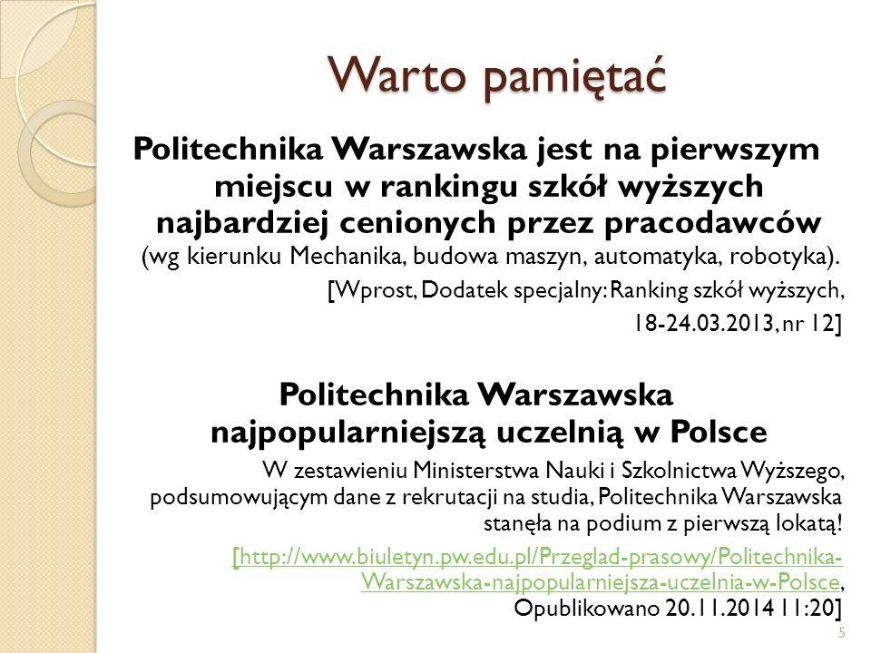Warto pamiętać Politechnika Warszawska jest na pierwszym miejscu w rankingu szkół wyższych najbardziej cenionych przez pracodawców (wg kierunku Mechan