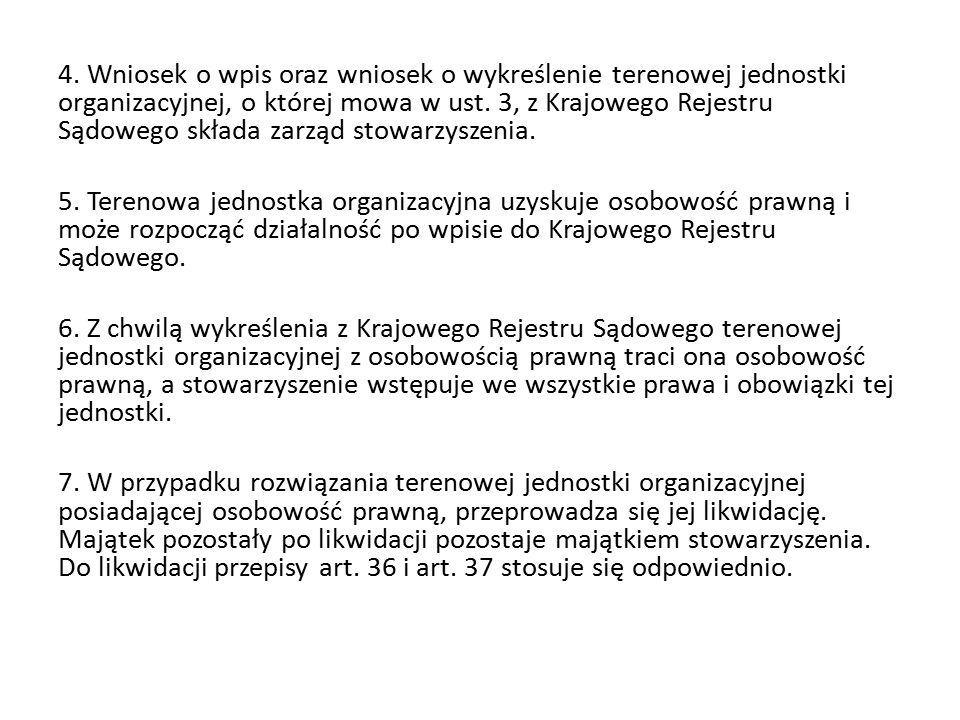 4. Wniosek o wpis oraz wniosek o wykreślenie terenowej jednostki organizacyjnej, o której mowa w ust. 3, z Krajowego Rejestru Sądowego składa zarząd s