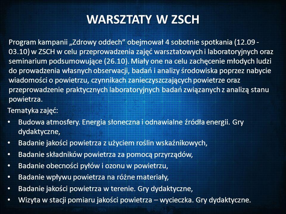 """WARSZTATY W ZSCH Program kampanii """"Zdrowy oddech"""" obejmował 4 sobotnie spotkania (12.09 - 03.10) w ZSCH w celu przeprowadzenia zajęć warsztatowych i l"""