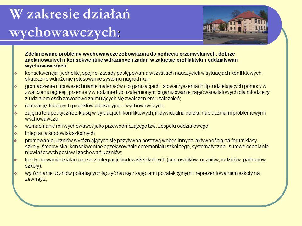 : W zakresie działań wychowawczych: Zdefiniowane problemy wychowawcze zobowiązują do podjęcia przemyślanych, dobrze zaplanowanych i konsekwentnie wdra