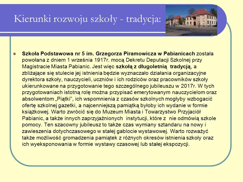 Kierunki rozwoju szkoły - tradycja: Szkoła Podstawowa nr 5 im. Grzegorza Piramowicza w Pabianicach została powołana z dniem 1 września 1917r. mocą Dek
