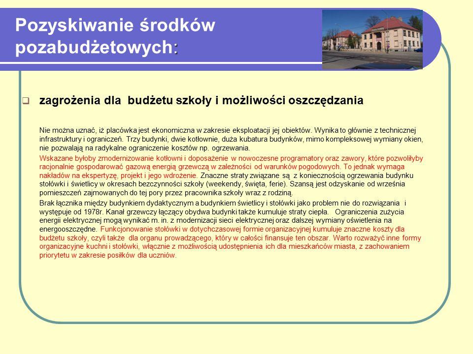 : Pozyskiwanie środków pozabudżetowych:  zagrożenia dla budżetu szkoły i możliwości oszczędzania Nie można uznać, iż placówka jest ekonomiczna w zakr
