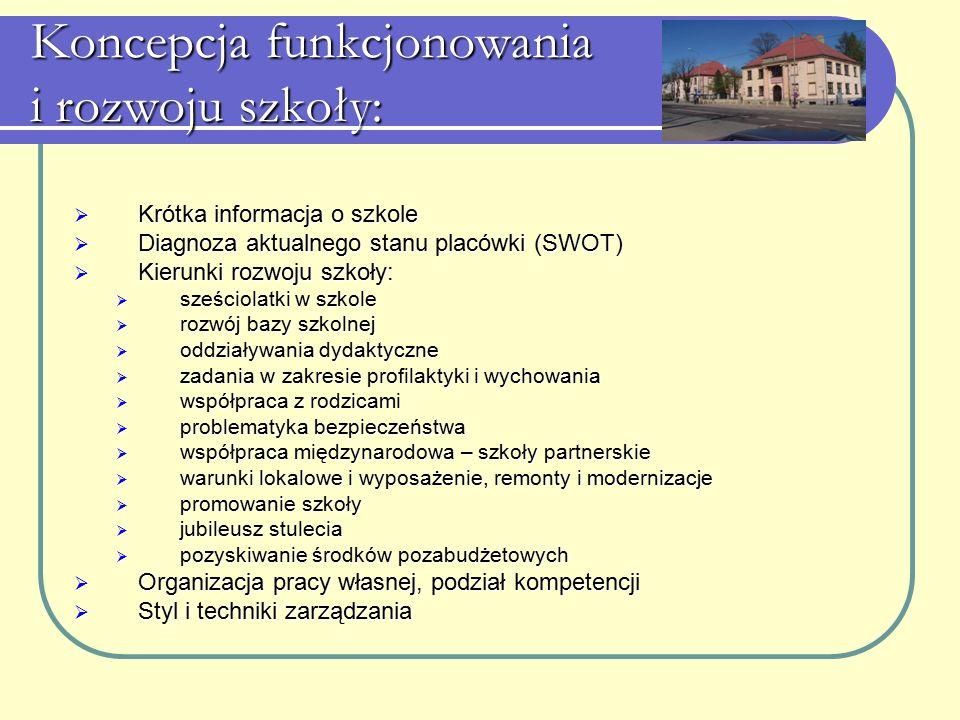 Koncepcja funkcjonowania i rozwoju szkoły:  Krótka informacja o szkole  Diagnoza aktualnego stanu placówki (SWOT)  Kierunki rozwoju szkoły:  sześc