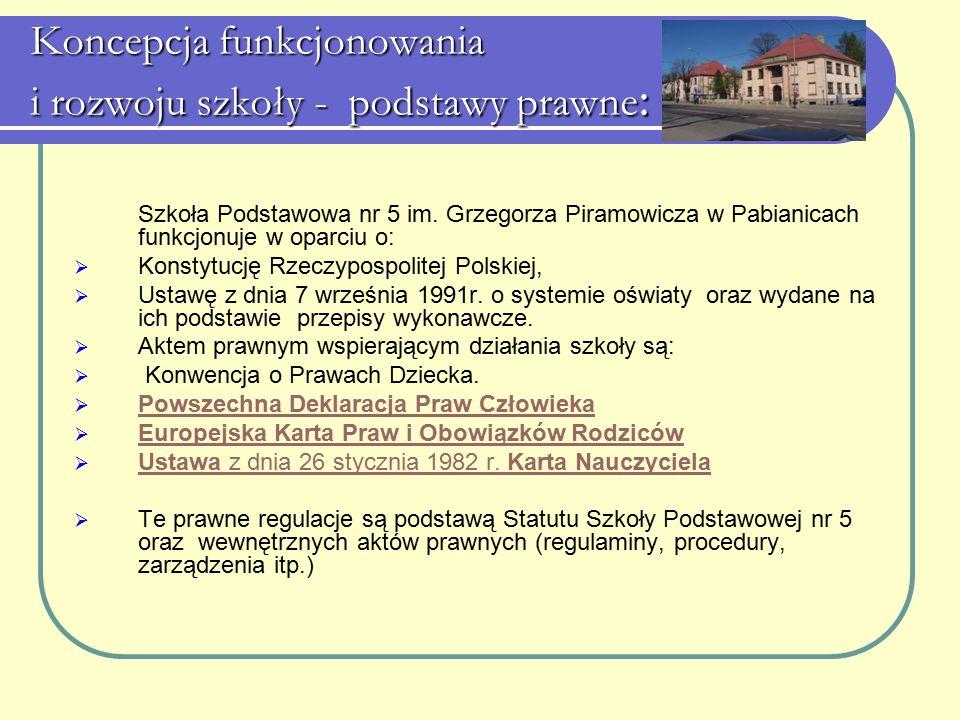 Koncepcja funkcjonowania i rozwoju szkoły - podstawy prawne : Szkoła Podstawowa nr 5 im. Grzegorza Piramowicza w Pabianicach funkcjonuje w oparciu o: