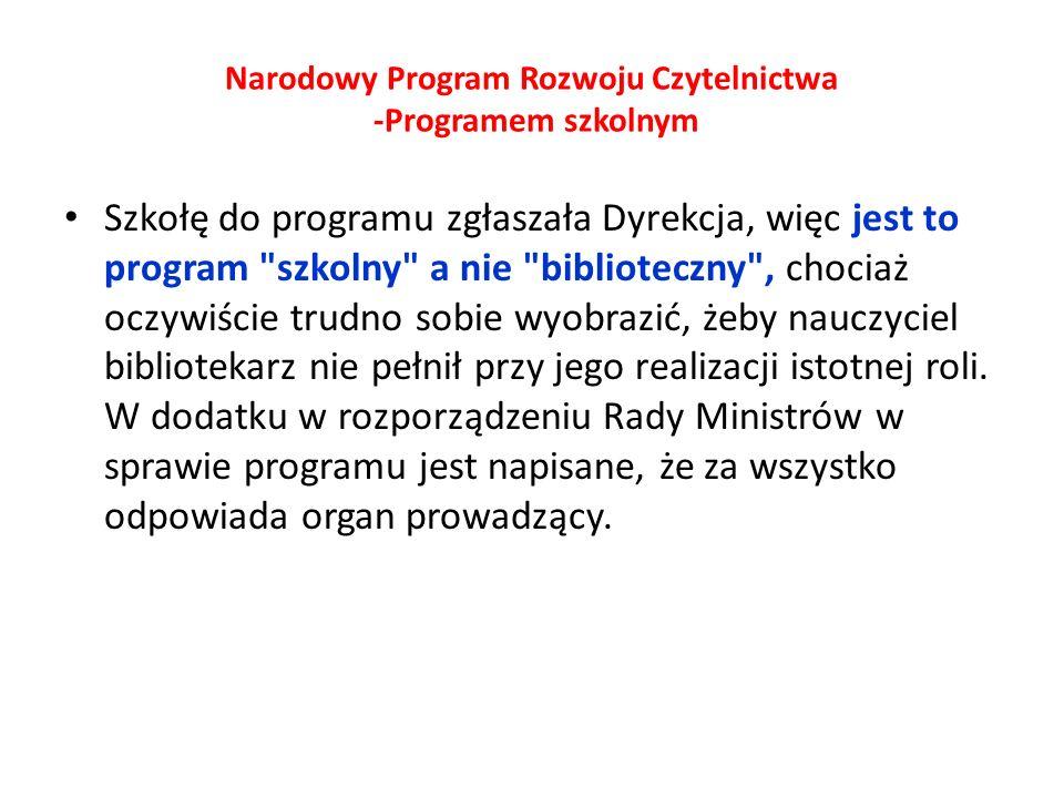 Narodowy Program Rozwoju Czytelnictwa -Programem szkolnym Szkołę do programu zgłaszała Dyrekcja, więc jest to program