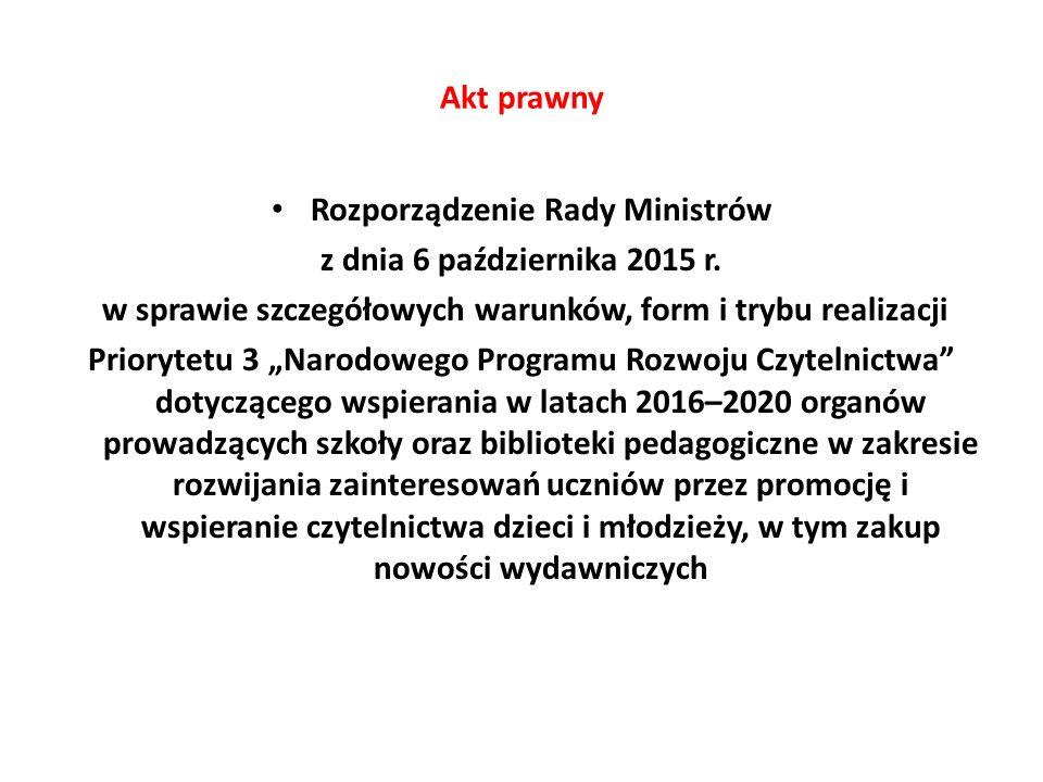 """Akt prawny Rozporządzenie Rady Ministrów z dnia 6 października 2015 r. w sprawie szczegółowych warunków, form i trybu realizacji Priorytetu 3 """"Narodow"""