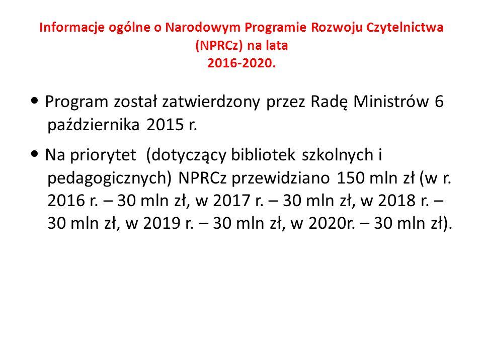 Informacje ogólne o Narodowym Programie Rozwoju Czytelnictwa (NPRCz) na lata 2016-2020. Program został zatwierdzony przez Radę Ministrów 6 październik