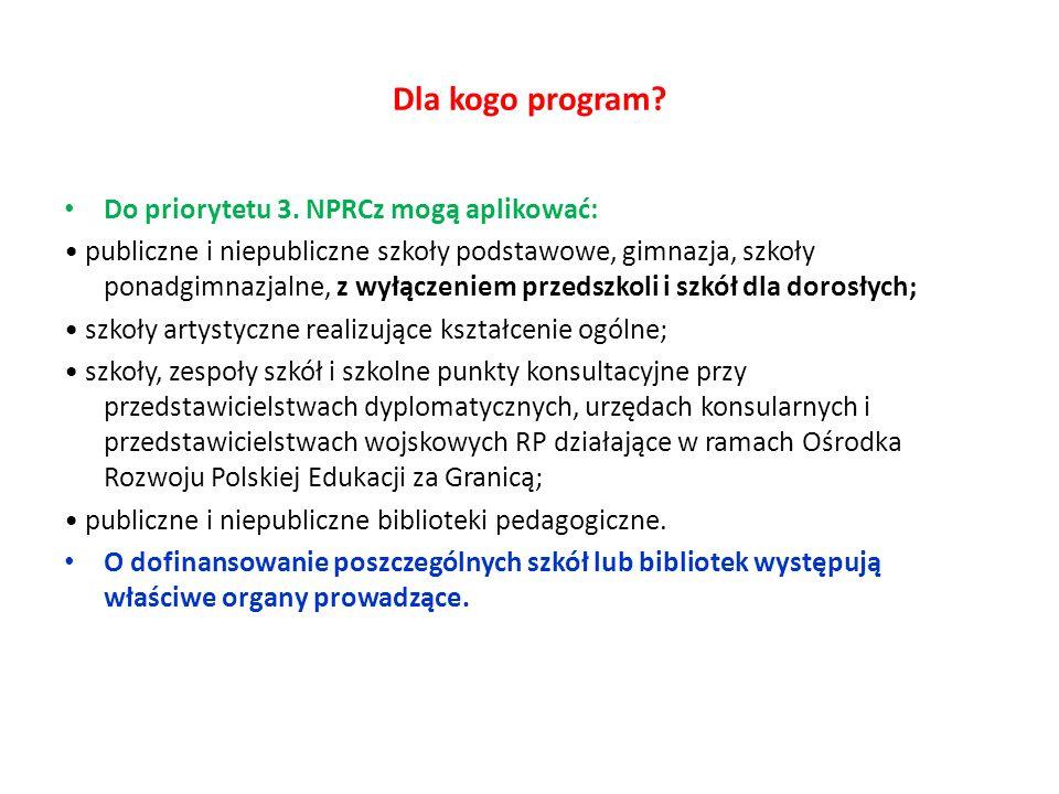 Dla kogo program? Do priorytetu 3. NPRCz mogą aplikować: publiczne i niepubliczne szkoły podstawowe, gimnazja, szkoły ponadgimnazjalne, z wyłączeniem