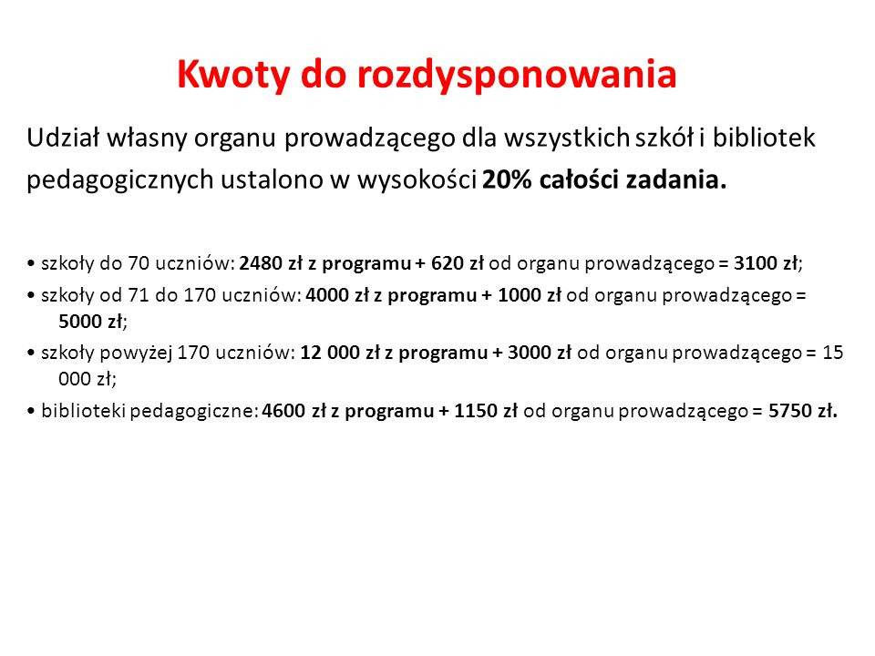 Kwoty do rozdysponowania Do wkładu własnego organu prowadzącego będzie można zaliczyć tylko wydatki (na zakup książek) poniesione od dnia podpisania przez organ prowadzący umowy z wojewodą w sprawie udziału w programie do 31 grudnia danego roku kalendarzowego