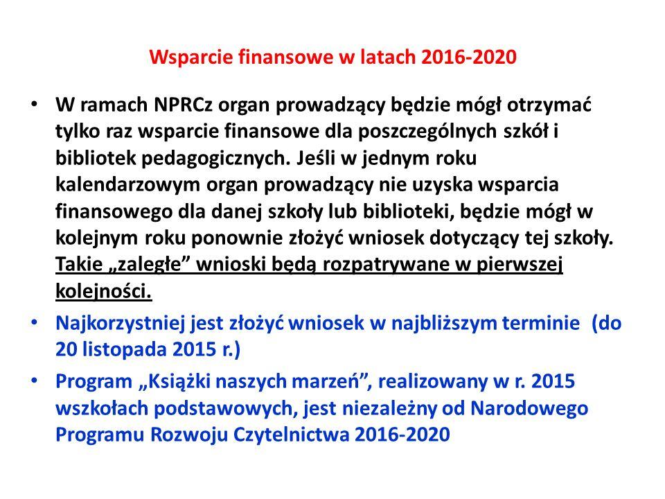 Wsparcie finansowe w latach 2016-2020 W ramach NPRCz organ prowadzący będzie mógł otrzymać tylko raz wsparcie finansowe dla poszczególnych szkół i bib