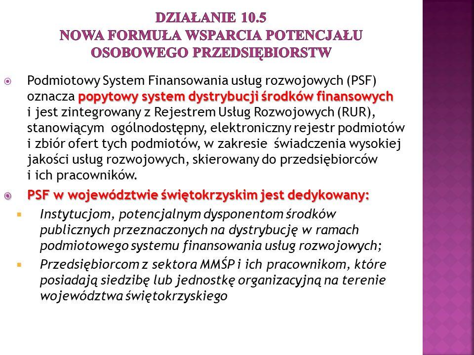 popytowy system dystrybucji środków finansowych  Podmiotowy System Finansowania usług rozwojowych (PSF) oznacza popytowy system dystrybucji środków f