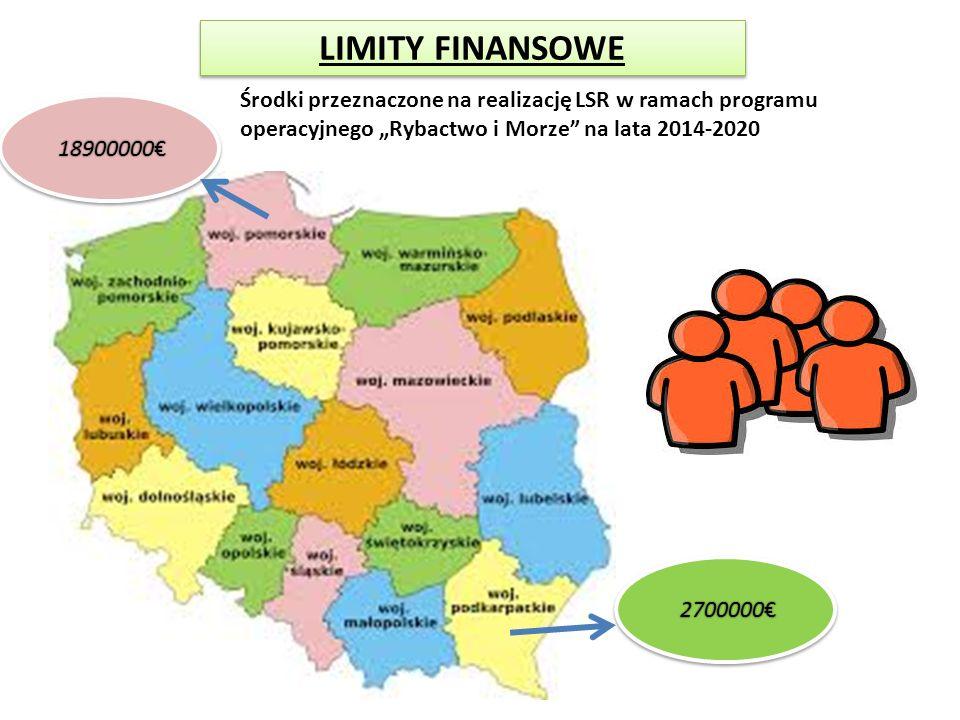 """LIMITY FINANSOWE Środki przeznaczone na realizację LSR w ramach programu operacyjnego """"Rybactwo i Morze na lata 2014-2020"""
