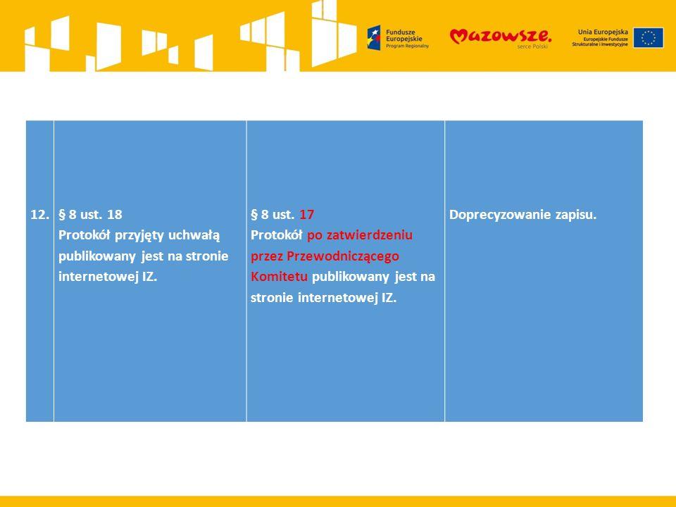 12.§ 8 ust. 18 Protokół przyjęty uchwałą publikowany jest na stronie internetowej IZ.