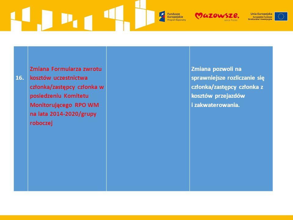 16. Zmiana Formularza zwrotu kosztów uczestnictwa członka/zastępcy członka w posiedzeniu Komitetu Monitorującego RPO WM na lata 2014-2020/grupy robocz