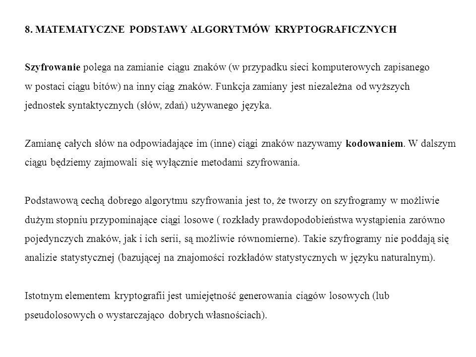 8. MATEMATYCZNE PODSTAWY ALGORYTMÓW KRYPTOGRAFICZNYCH Szyfrowanie polega na zamianie ciągu znaków (w przypadku sieci komputerowych zapisanego w postac