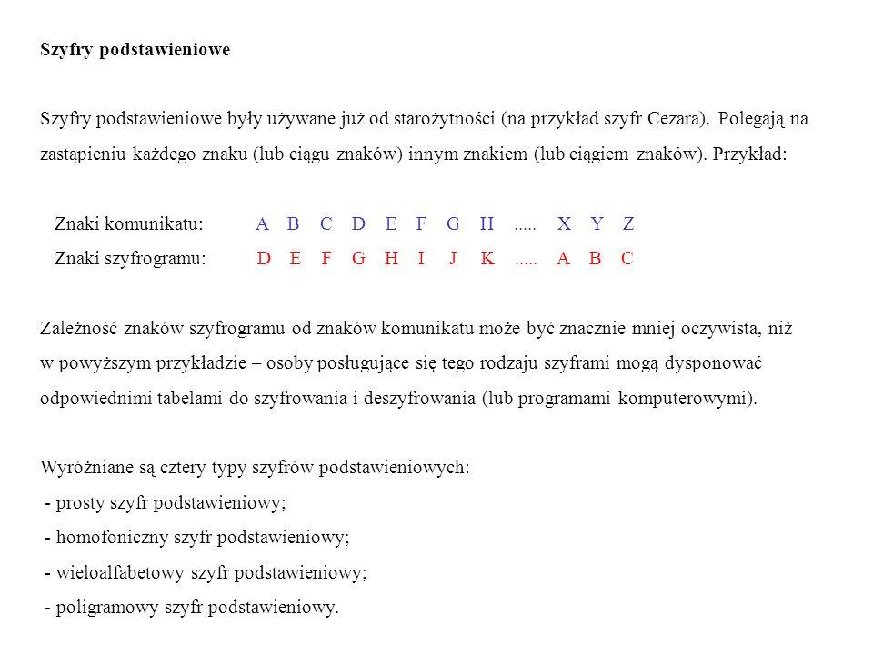 Szyfry podstawieniowe Szyfry podstawieniowe były używane już od starożytności (na przykład szyfr Cezara). Polegają na zastąpieniu każdego znaku (lub c