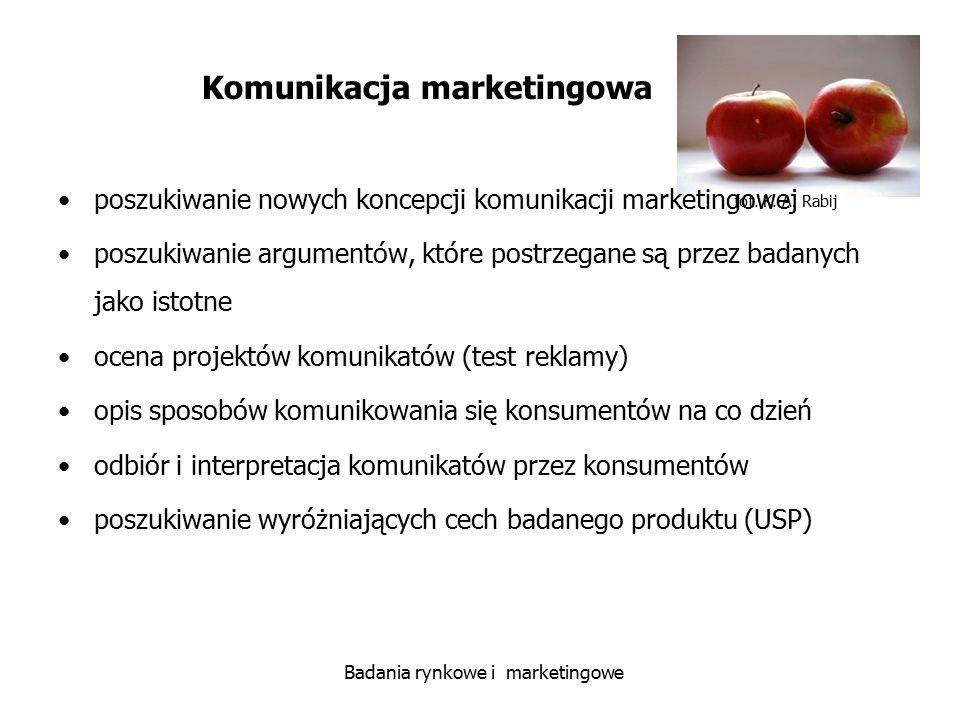 fot. K. A. Rabij Badania rynkowe i marketingowe Komunikacja marketingowa poszukiwanie nowych koncepcji komunikacji marketingowej poszukiwanie argument