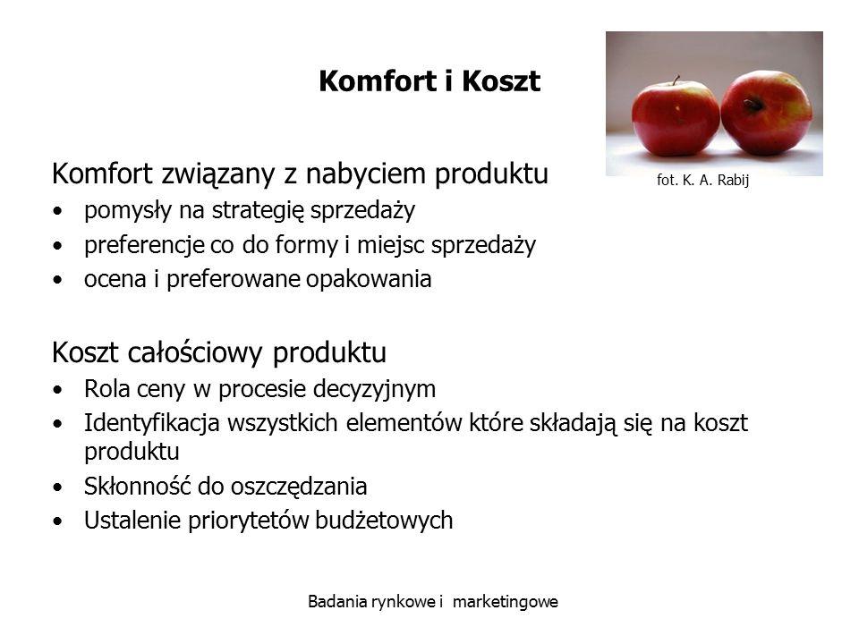 fot. K. A. Rabij Badania rynkowe i marketingowe Komfort i Koszt Komfort związany z nabyciem produktu pomysły na strategię sprzedaży preferencje co do