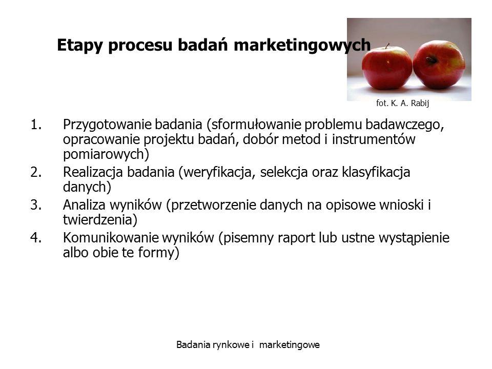 fot. K. A. Rabij Badania rynkowe i marketingowe 1.Przygotowanie badania (sformułowanie problemu badawczego, opracowanie projektu badań, dobór metod i
