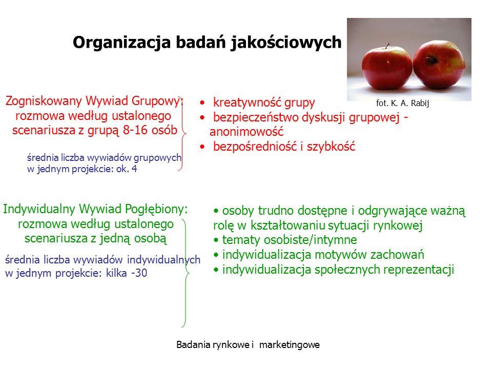 fot. K. A. Rabij Badania rynkowe i marketingowe Organizacja badań jakościowych kreatywność grupy bezpieczeństwo dyskusji grupowej - anonimowość bezpoś