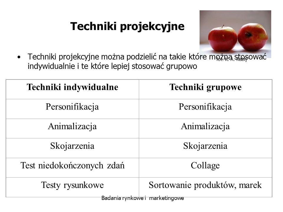 fot. K. A. Rabij Badania rynkowe i marketingowe Techniki projekcyjne Techniki projekcyjne można podzielić na takie które można stosować indywidualnie
