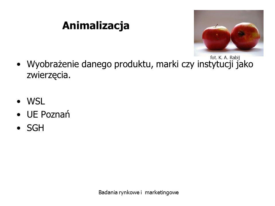 fot. K. A. Rabij Badania rynkowe i marketingowe Animalizacja Wyobrażenie danego produktu, marki czy instytucji jako zwierzęcia. WSL UE Poznań SGH