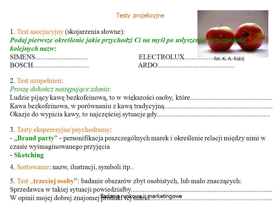 fot. K. A. Rabij Badania rynkowe i marketingowe Testy projekcyjne 1. Test asocjacyjny (skojarzenia słowne): Podaj pierwsze określenie jakie przychodzi