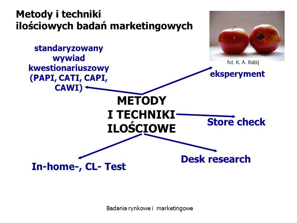 fot. K. A. Rabij Badania rynkowe i marketingowe METODY I TECHNIKI ILOŚCIOWE standaryzowany wywiad kwestionariuszowy (PAPI, CATI, CAPI, CAWI) eksperyme