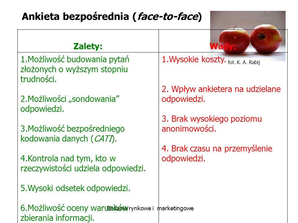 fot. K. A. Rabij Badania rynkowe i marketingowe Ankieta bezpośrednia (face-to-face) Zalety:Wady: 1.Możliwość budowania pytań złożonych o wyższym stopn