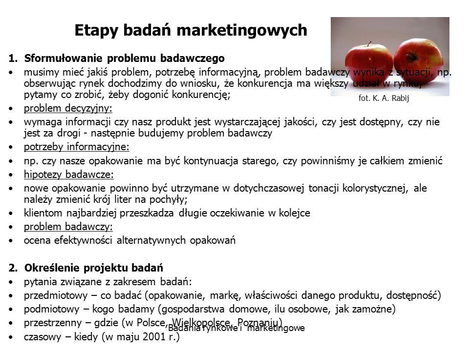fot. K. A. Rabij Badania rynkowe i marketingowe Etapy badań marketingowych 1. Sformułowanie problemu badawczego musimy mieć jakiś problem, potrzebę in