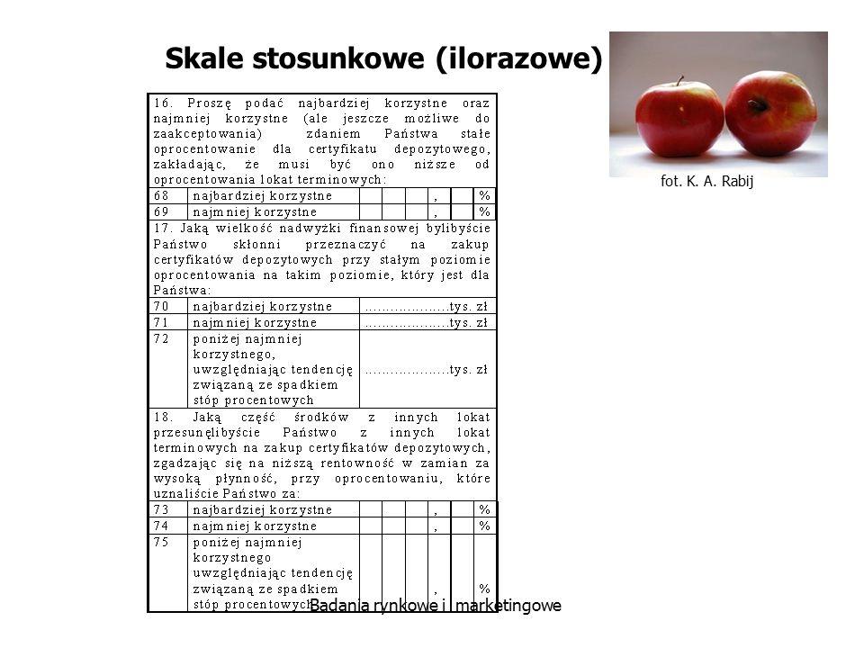 fot. K. A. Rabij Badania rynkowe i marketingowe Skale stosunkowe (ilorazowe)