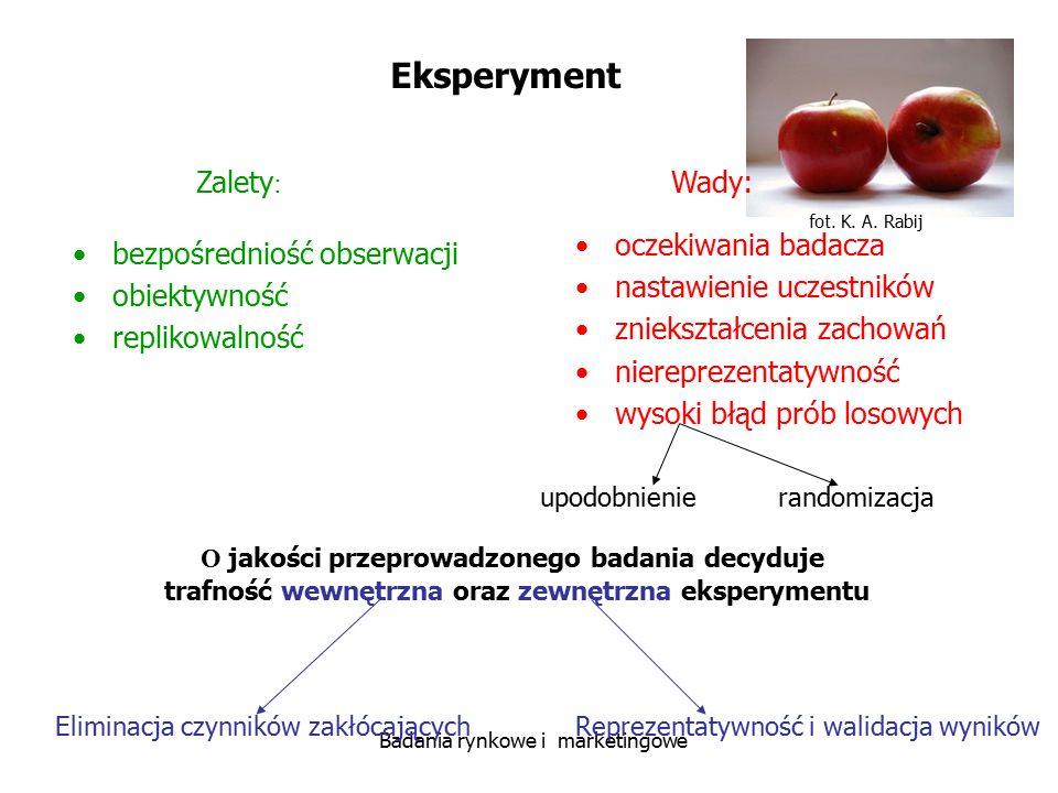 fot. K. A. Rabij Badania rynkowe i marketingowe Eksperyment Zalety : Wady: bezpośredniość obserwacji obiektywność replikowalność oczekiwania badacza n