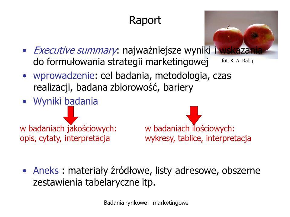fot. K. A. Rabij Badania rynkowe i marketingowe Raport Executive summary: najważniejsze wyniki i wskazania do formułowania strategii marketingowej wpr