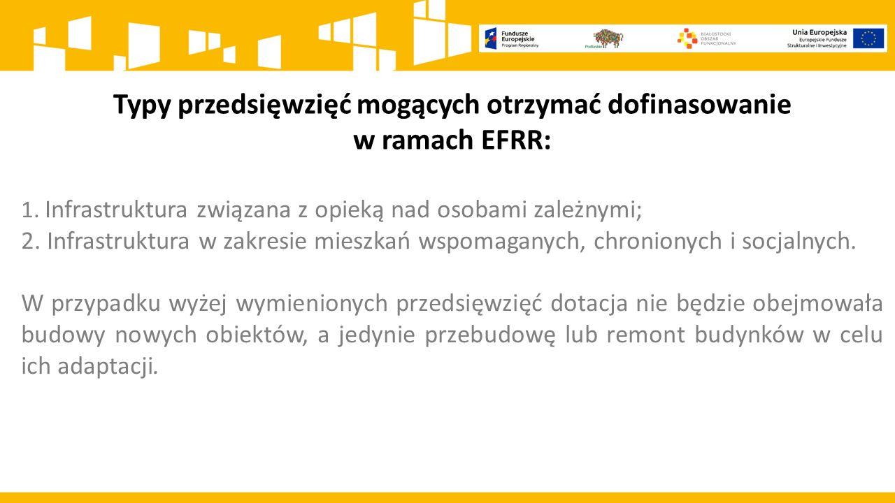 Typy przedsięwzięć mogących otrzymać dofinasowanie w ramach EFRR: 1.