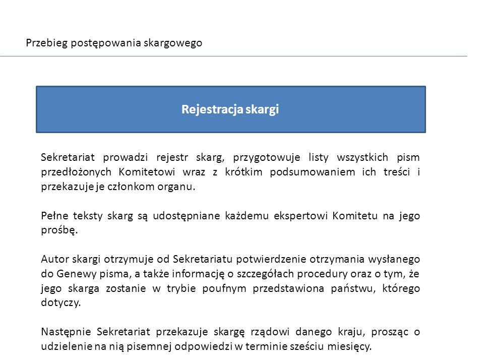 Przebieg postępowania skargowego Rejestracja skargi Sekretariat prowadzi rejestr skarg, przygotowuje listy wszystkich pism przedłożonych Komitetowi wr