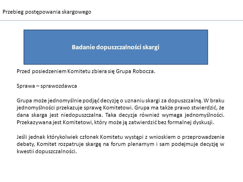 Badanie dopuszczalności skargi Przebieg postępowania skargowego Przed posiedzeniem Komitetu zbiera się Grupa Robocza. Sprawa – sprawozdawca Grupa może