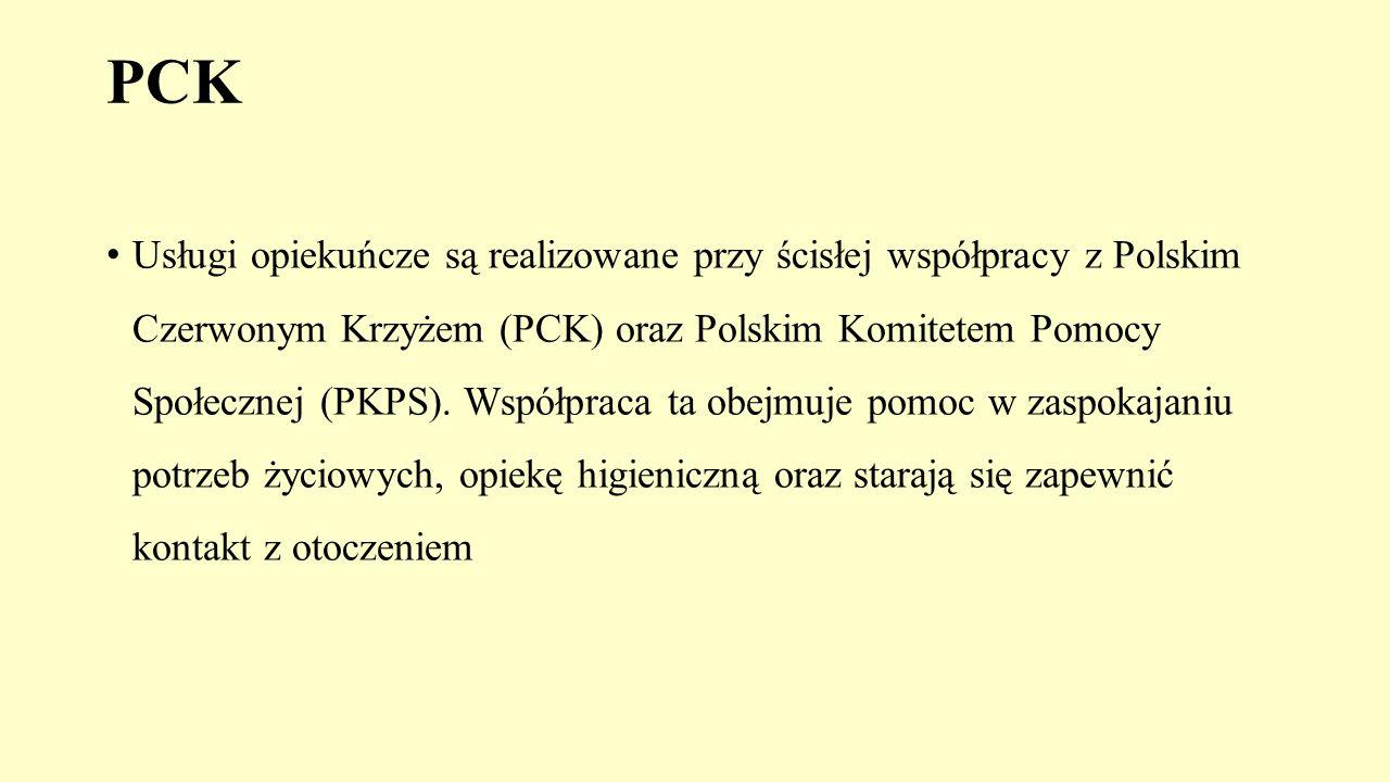 PCK Usługi opiekuńcze są realizowane przy ścisłej współpracy z Polskim Czerwonym Krzyżem (PCK) oraz Polskim Komitetem Pomocy Społecznej (PKPS). Współp