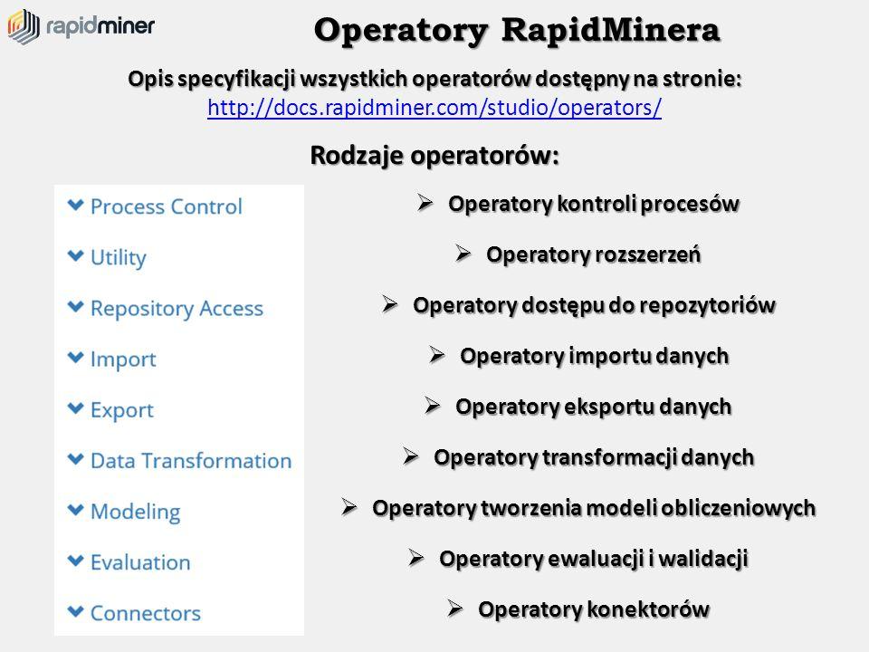 Operatory RapidMinera Opis specyfikacji wszystkich operatorów dostępny na stronie: Opis specyfikacji wszystkich operatorów dostępny na stronie: http:/