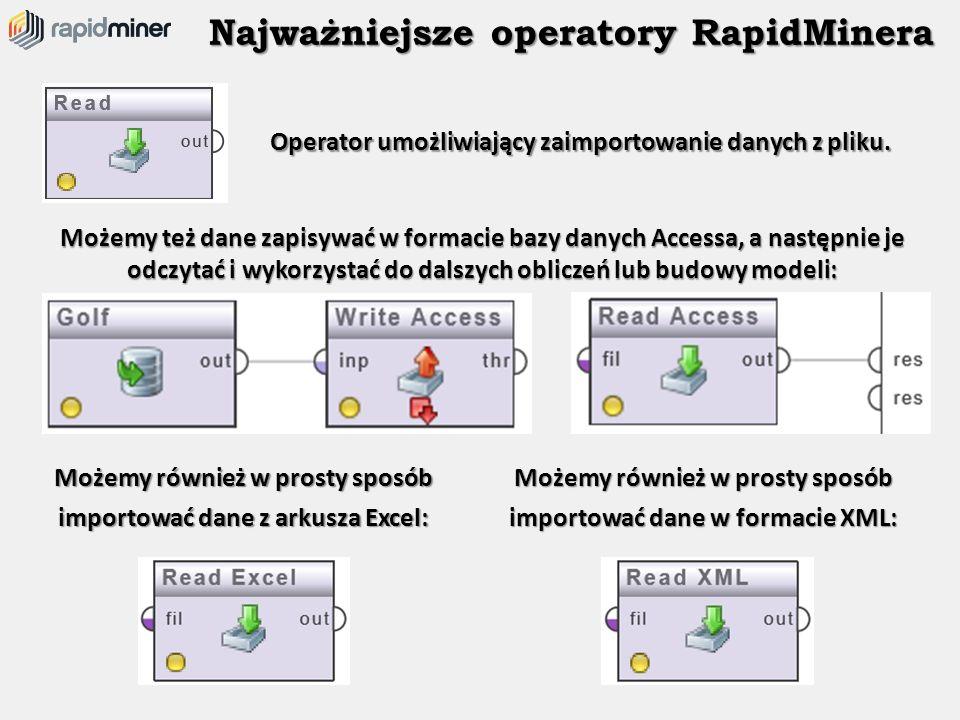 Najważniejsze operatory RapidMinera Operator umożliwiający zaimportowanie danych z pliku. Możemy też dane zapisywać w formacie bazy danych Accessa, a