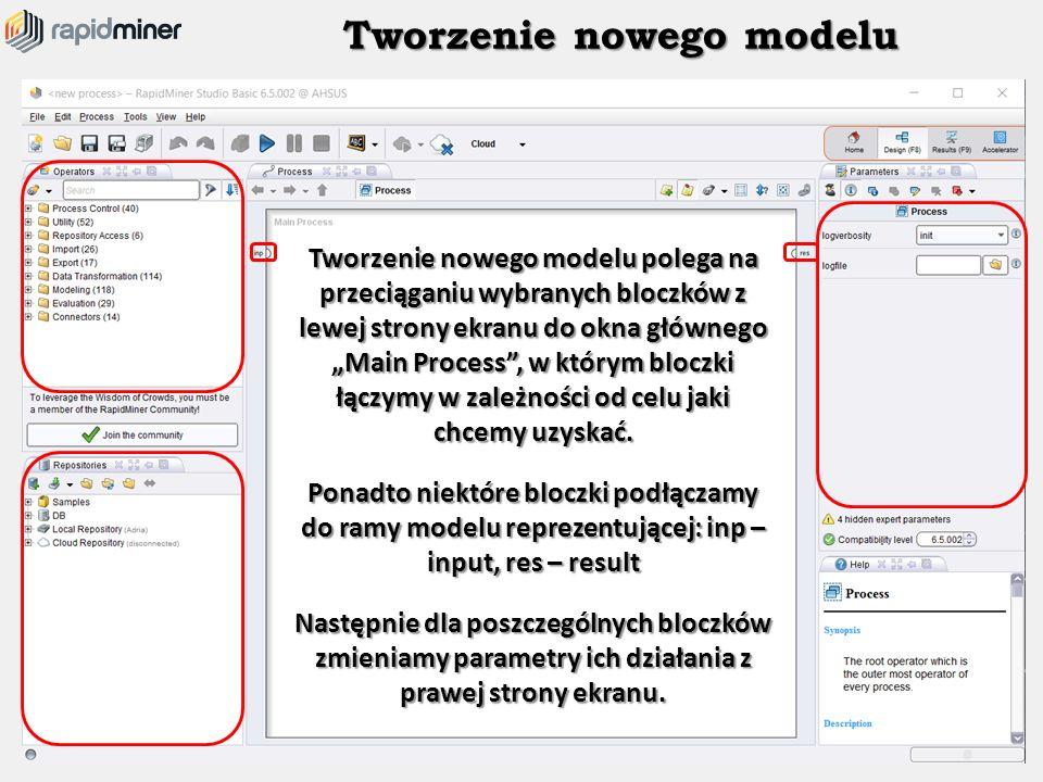 """Tworzenie nowego modelu Tworzenie nowego modelu polega na przeciąganiu wybranych bloczków z lewej strony ekranu do okna głównego """"Main Process"""", w któ"""