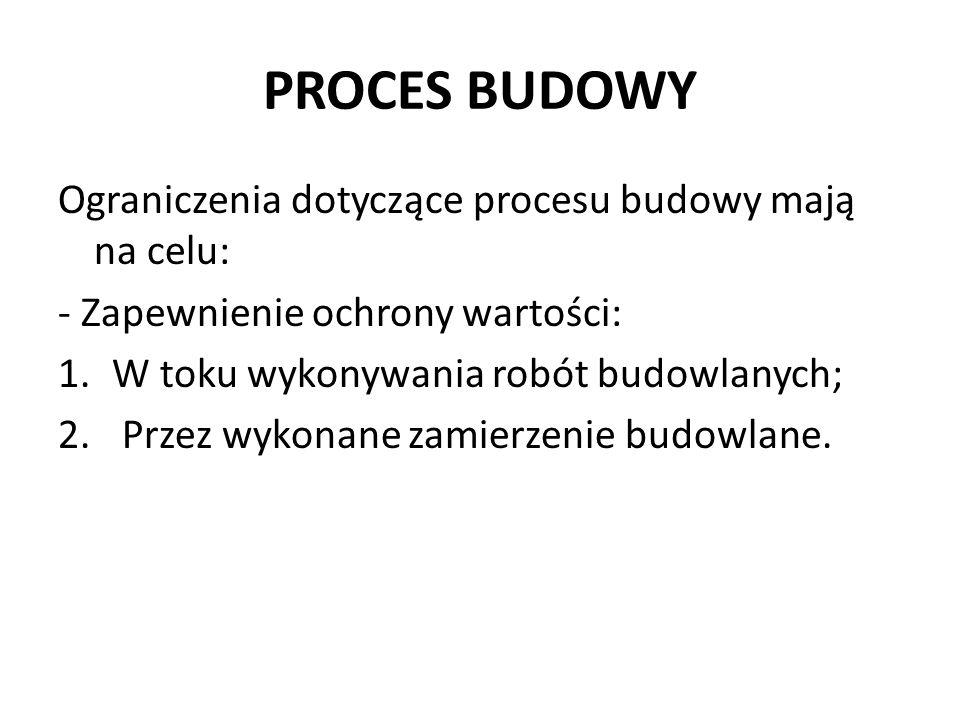 PROCES BUDOWY Ograniczenia dotyczące procesu budowy mają na celu: - Zapewnienie ochrony wartości: 1.W toku wykonywania robót budowlanych; 2. Przez wyk