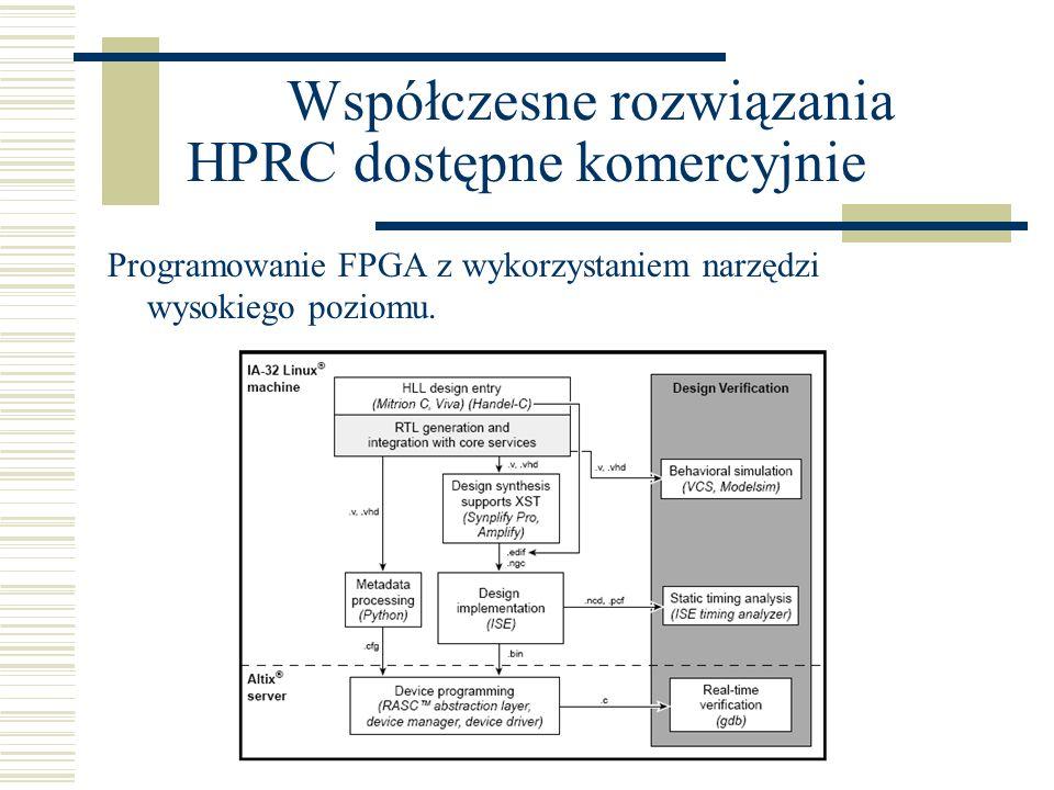 SGI Współczesne rozwiązania HPRC dostępne komercyjnie Programowanie FPGA z wykorzystaniem narzędzi wysokiego poziomu.